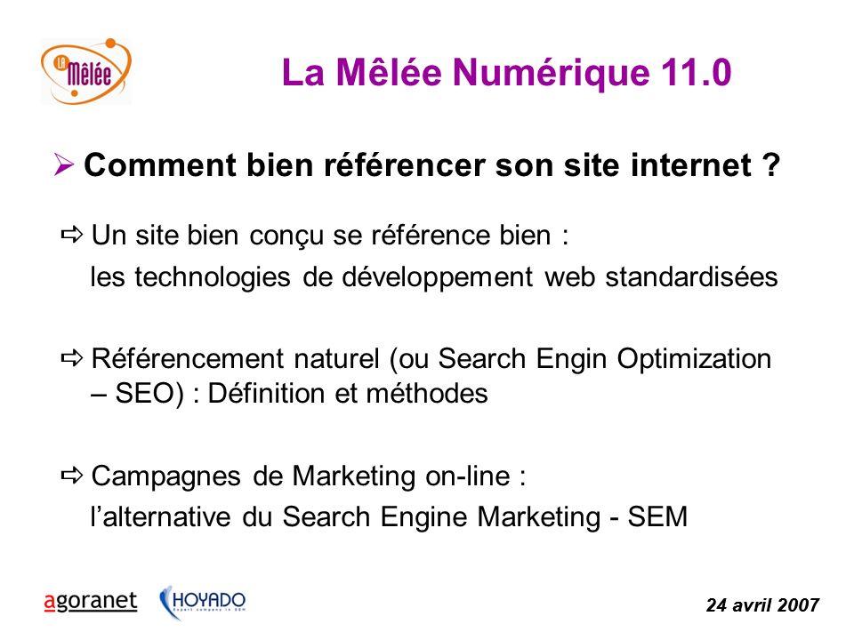 La Mêlée Numérique 11.0 24 avril 2007 Comment bien référencer son site internet .