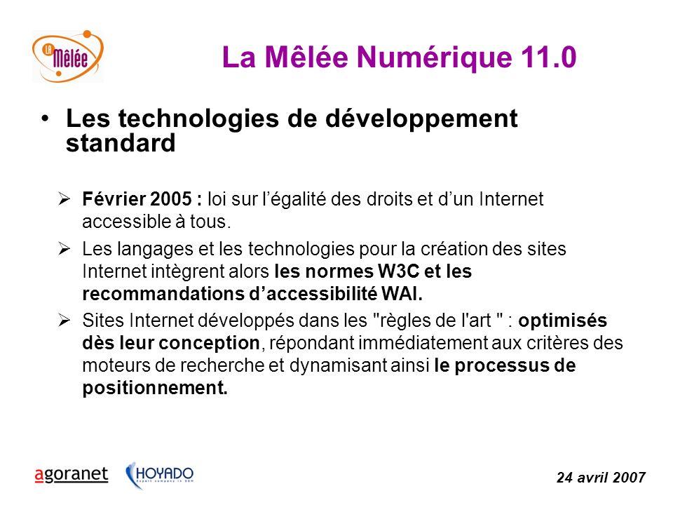 La Mêlée Numérique 11.0 24 avril 2007 Les technologies de développement standard Février 2005 : loi sur légalité des droits et dun Internet accessible à tous.