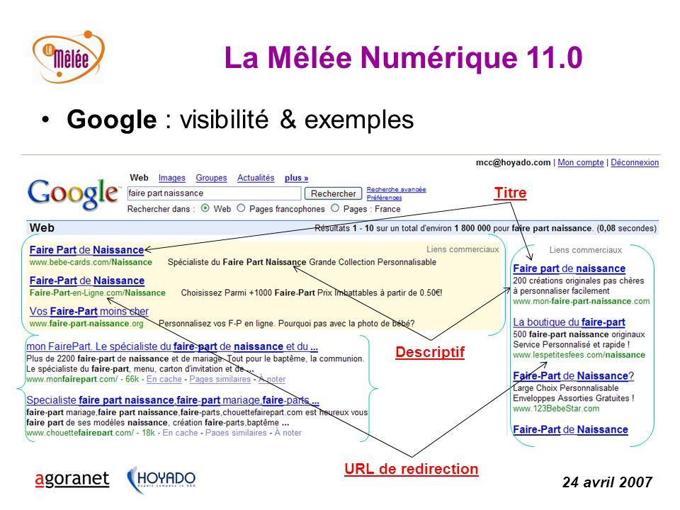 La Mêlée Numérique 11.0 24 avril 2007 Google : visibilité & exemples Descriptif URL de redirection Titre