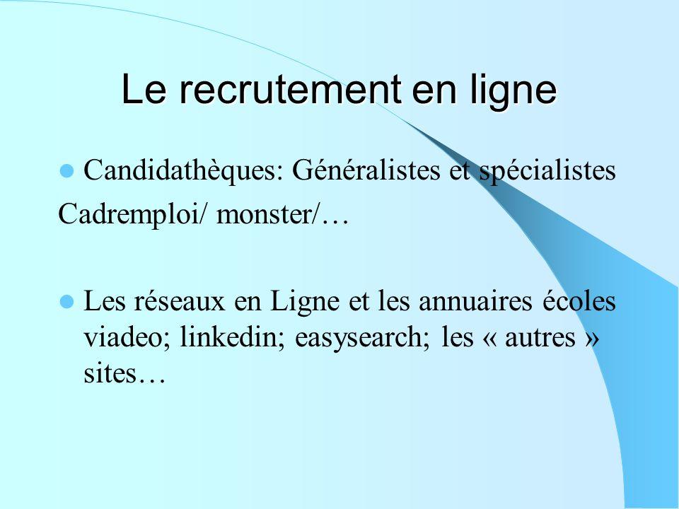 Le recrutement en ligne Candidathèques: Généralistes et spécialistes Cadremploi/ monster/… Les réseaux en Ligne et les annuaires écoles viadeo; linked