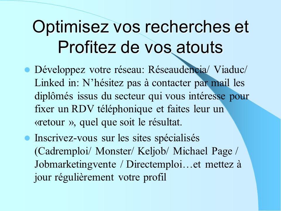Optimisez vos recherches et Profitez de vos atouts Développez votre réseau: Réseaudencia/ Viaduc/ Linked in: Nhésitez pas à contacter par mail les dip