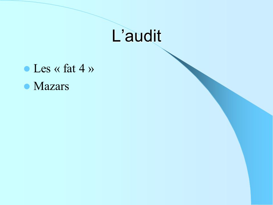 Laudit Les « fat 4 » Mazars