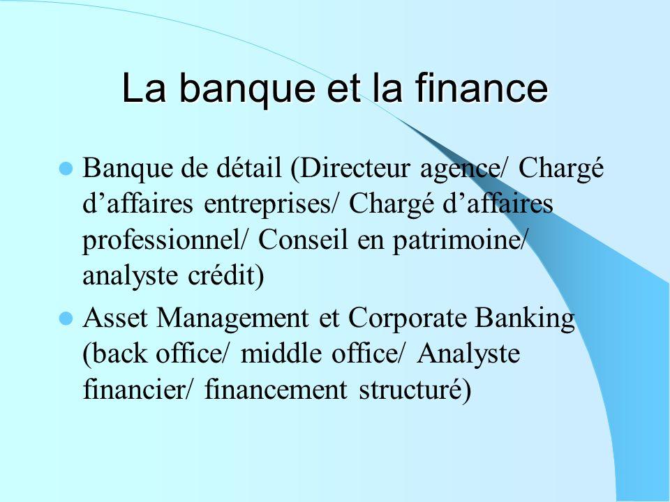 La banque et la finance Banque de détail (Directeur agence/ Chargé daffaires entreprises/ Chargé daffaires professionnel/ Conseil en patrimoine/ analy