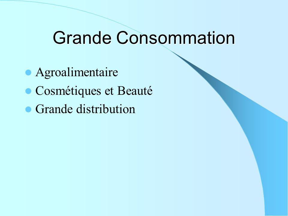 Grande Consommation Agroalimentaire Cosmétiques et Beauté Grande distribution