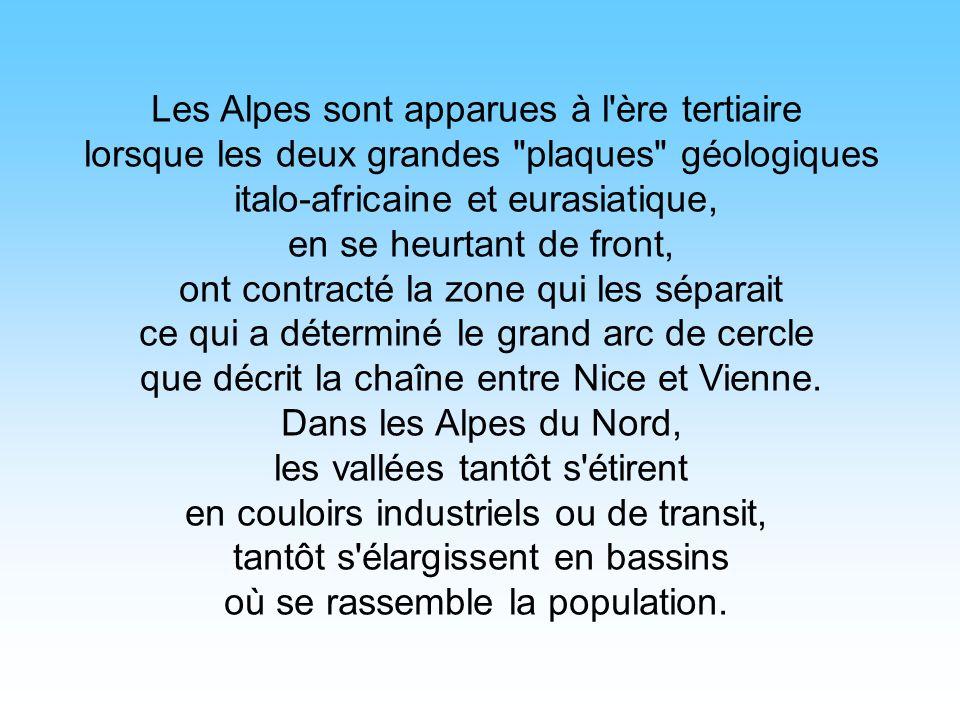 Les Alpes sont apparues à l ère tertiaire lorsque les deux grandes plaques géologiques italo-africaine et eurasiatique, en se heurtant de front, ont contracté la zone qui les séparait ce qui a déterminé le grand arc de cercle que décrit la chaîne entre Nice et Vienne.