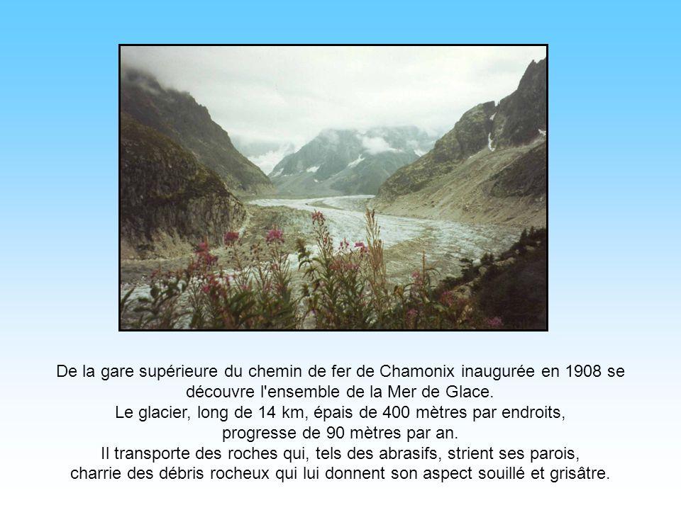 De la gare supérieure du chemin de fer de Chamonix inaugurée en 1908 se découvre l ensemble de la Mer de Glace.