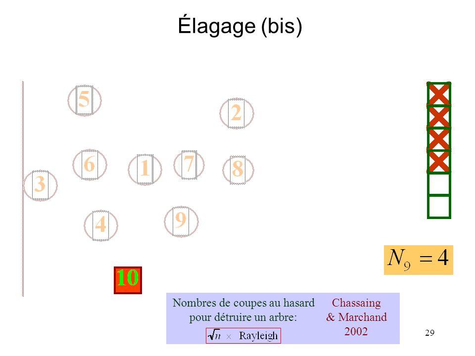 29 Élagage (bis) Chassaing & Marchand 2002 Nombres de coupes au hasard pour détruire un arbre: