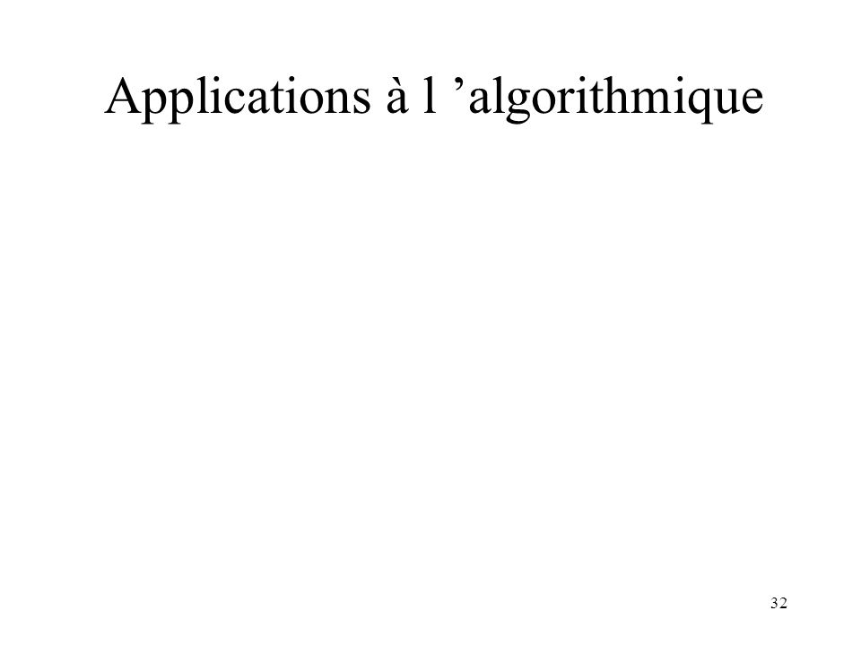 32 Applications à l algorithmique