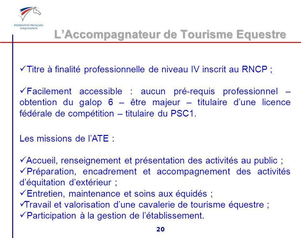 LAnimateur Assistant dEquitation 19 Titre à finalité professionnelle de niveau V inscrit au RNCP ; Facilement accessible : aucun pré-requis profession