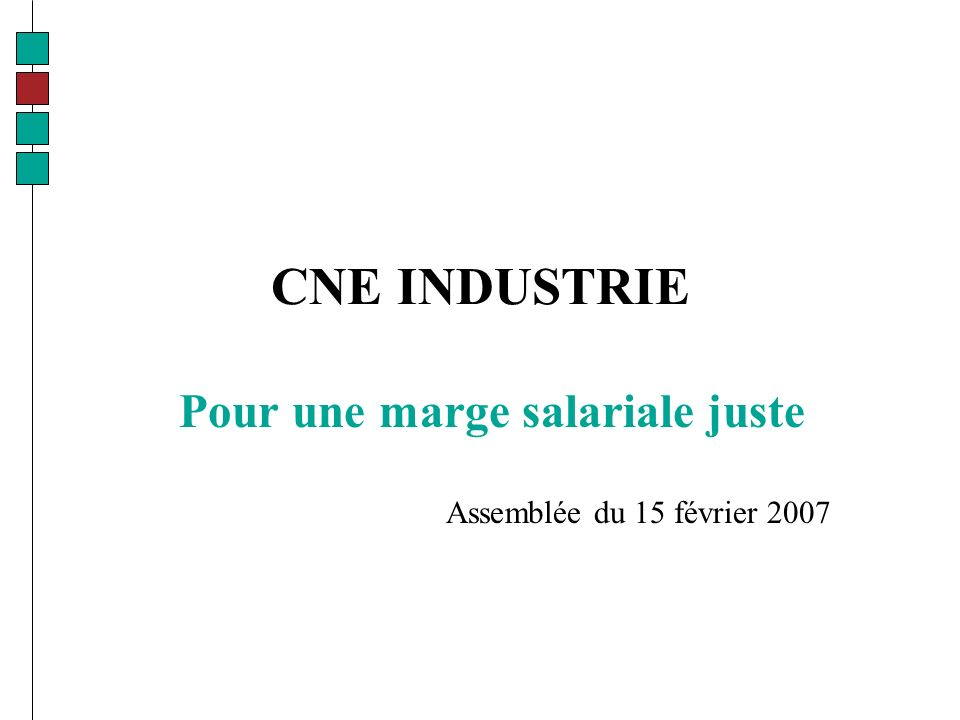 CNE INDUSTRIE Pour une marge salariale juste Assemblée du 15 février 2007
