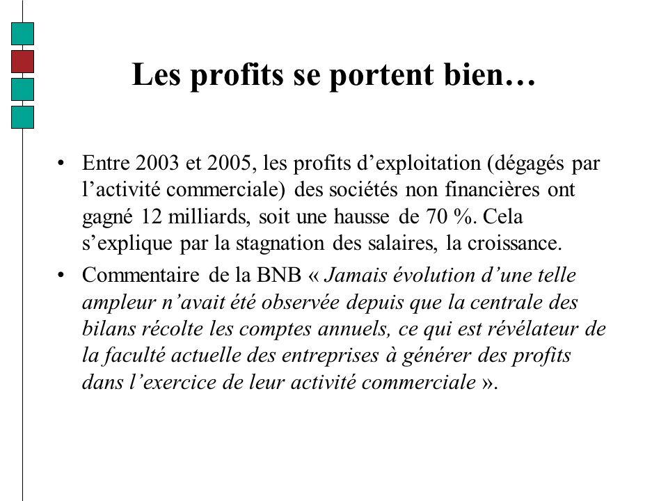 Les profits se portent bien… Entre 2003 et 2005, les profits dexploitation (dégagés par lactivité commerciale) des sociétés non financières ont gagné 12 milliards, soit une hausse de 70 %.