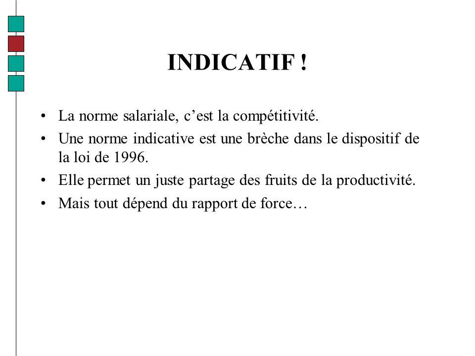 INDICATIF . La norme salariale, cest la compétitivité.