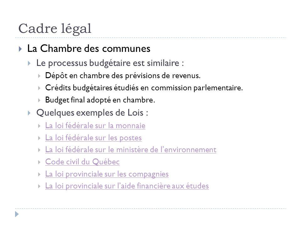 Cadre légal La Chambre des communes Le processus budgétaire est similaire : Dépôt en chambre des prévisions de revenus. Crédits budgétaires étudiés en