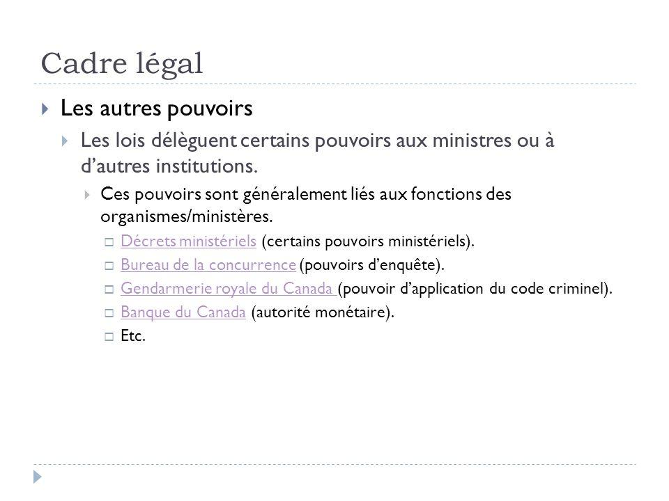 Cadre légal Les autres pouvoirs Les lois délèguent certains pouvoirs aux ministres ou à dautres institutions. Ces pouvoirs sont généralement liés aux