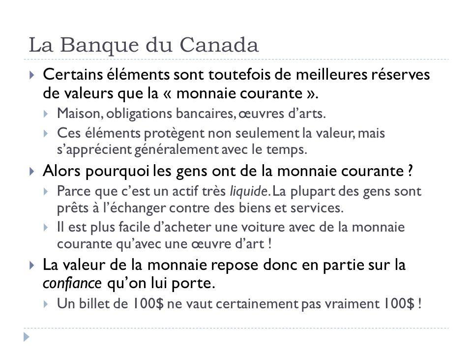 La Banque du Canada Certains éléments sont toutefois de meilleures réserves de valeurs que la « monnaie courante ». Maison, obligations bancaires, œuv