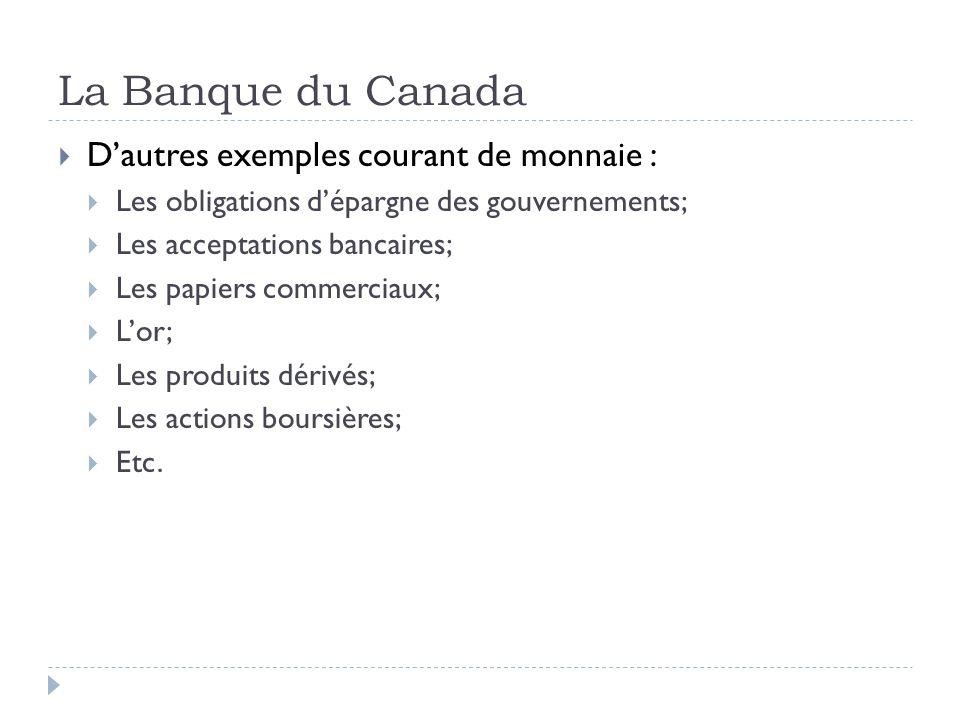 La Banque du Canada Dautres exemples courant de monnaie : Les obligations dépargne des gouvernements; Les acceptations bancaires; Les papiers commerci