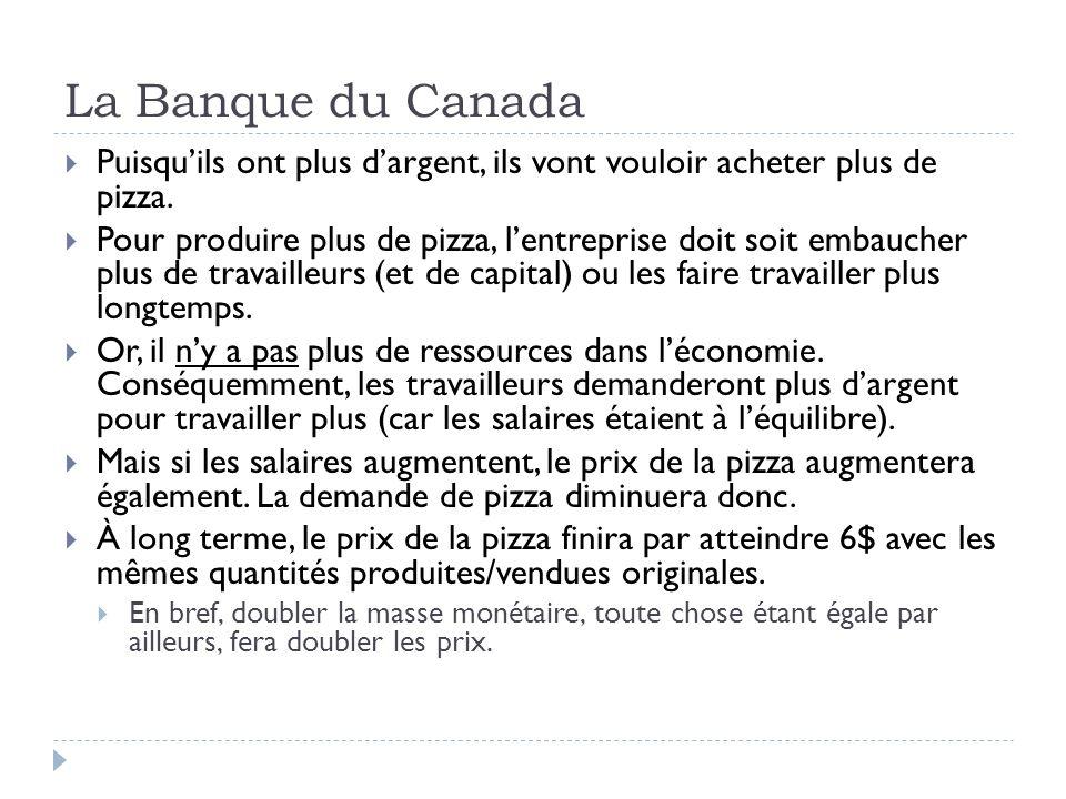 La Banque du Canada Puisquils ont plus dargent, ils vont vouloir acheter plus de pizza. Pour produire plus de pizza, lentreprise doit soit embaucher p