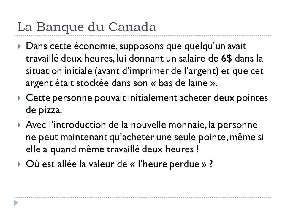La Banque du Canada Dans cette économie, supposons que quelquun avait travaillé deux heures, lui donnant un salaire de 6$ dans la situation initiale (