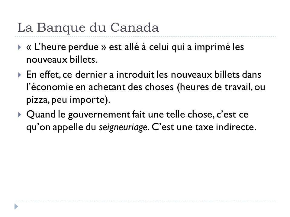 La Banque du Canada « Lheure perdue » est allé à celui qui a imprimé les nouveaux billets. En effet, ce dernier a introduit les nouveaux billets dans