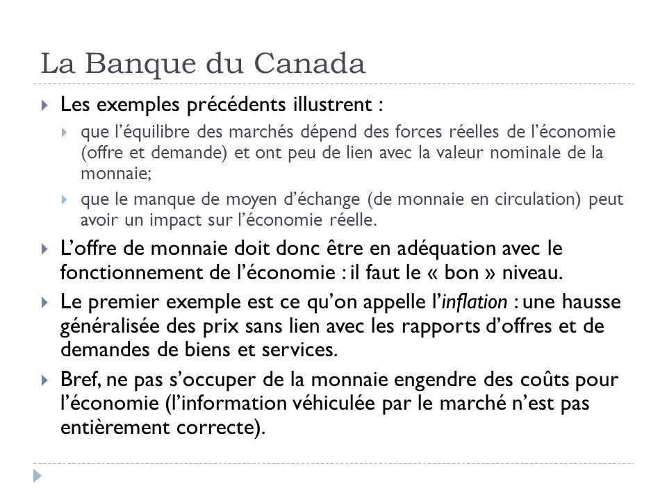 La Banque du Canada Les exemples précédents illustrent : que léquilibre des marchés dépend des forces réelles de léconomie (offre et demande) et ont p