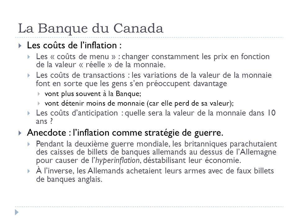 La Banque du Canada Les coûts de linflation : Les « coûts de menu » : changer constamment les prix en fonction de la valeur « réelle » de la monnaie.