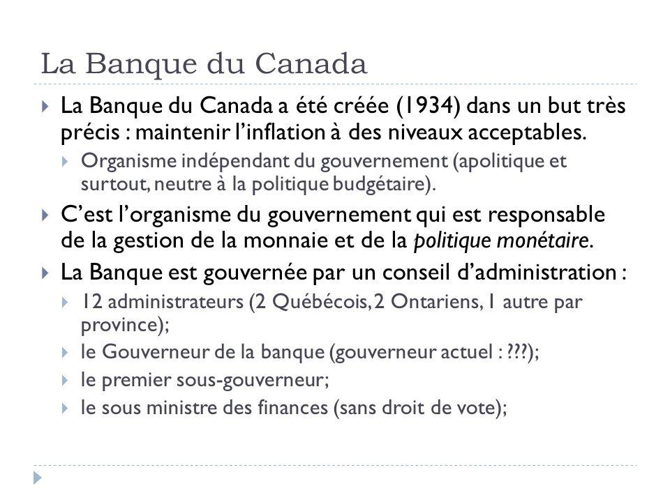 La Banque du Canada La Banque du Canada a été créée (1934) dans un but très précis : maintenir linflation à des niveaux acceptables. Organisme indépen