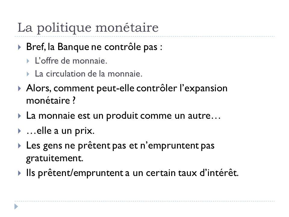 La politique monétaire Bref, la Banque ne contrôle pas : Loffre de monnaie. La circulation de la monnaie. Alors, comment peut-elle contrôler lexpansio