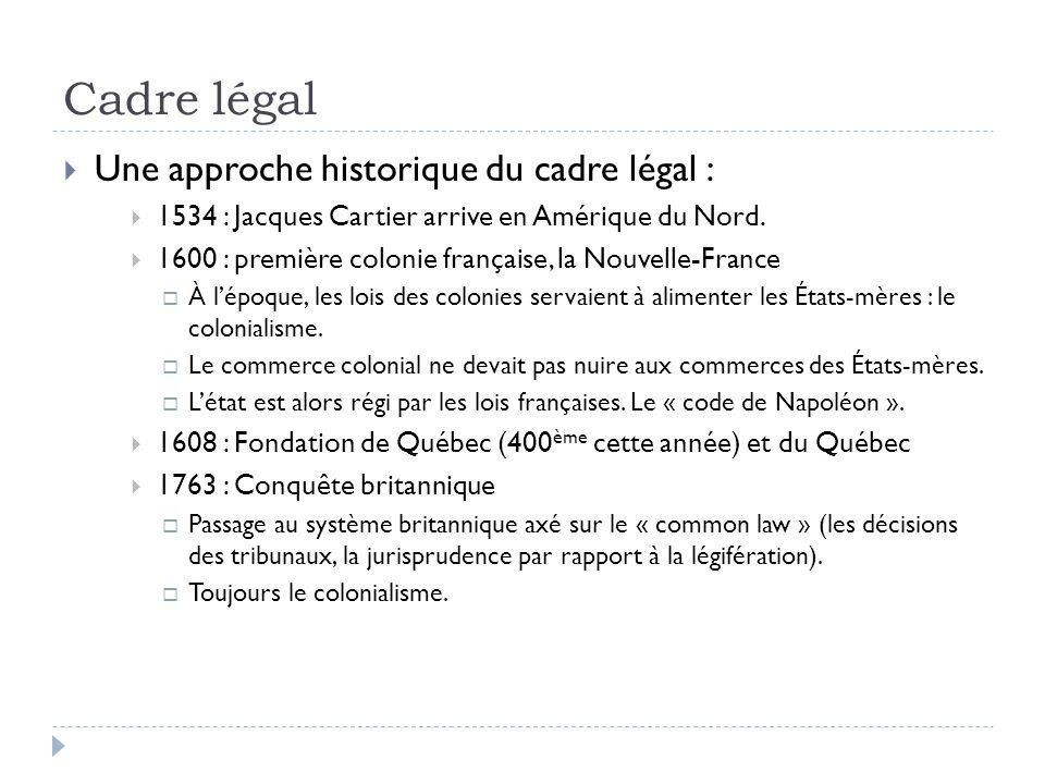 Cadre légal Une approche historique du cadre légal : 1534 : Jacques Cartier arrive en Amérique du Nord. 1600 : première colonie française, la Nouvelle