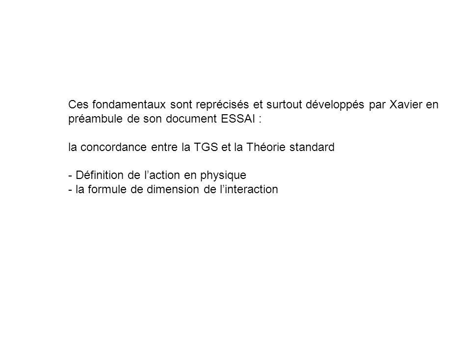 Ces fondamentaux sont reprécisés et surtout développés par Xavier en préambule de son document ESSAI : la concordance entre la TGS et la Théorie stand