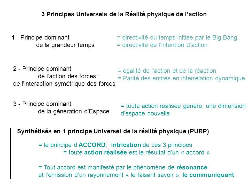 3 Principes Universels de la Réalité physique de laction 1 - Principe dominant de la grandeur temps = directivité du temps initiée par le Big Bang = d