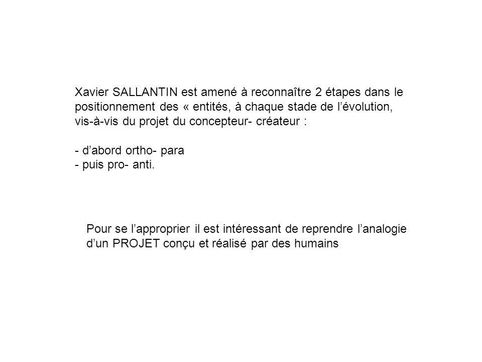 Pour se lapproprier il est intéressant de reprendre lanalogie dun PROJET conçu et réalisé par des humains Xavier SALLANTIN est amené à reconnaître 2 é