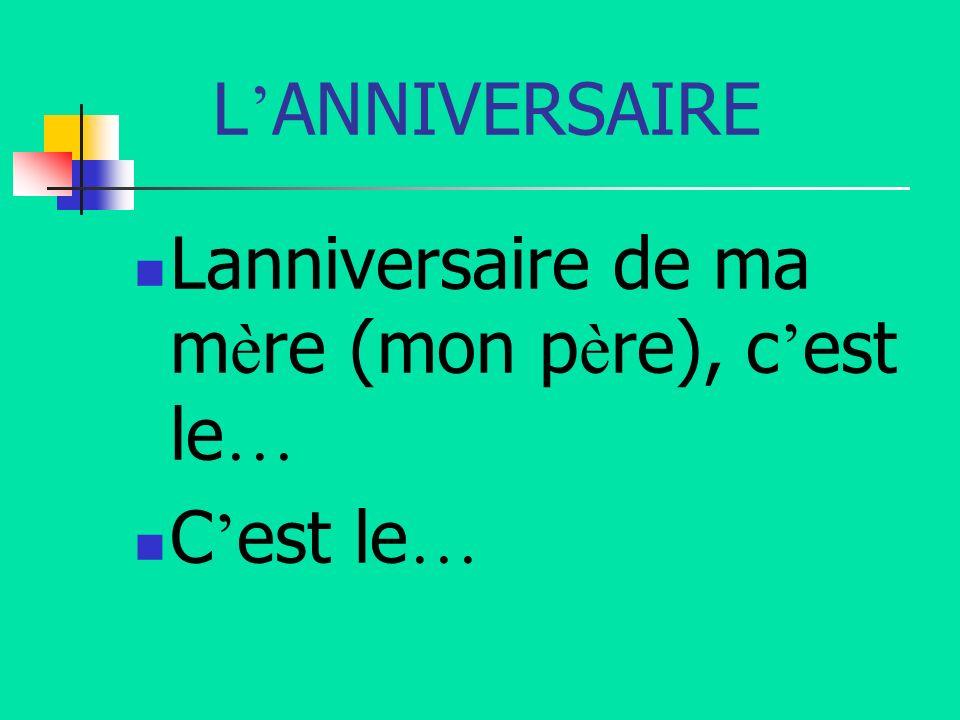 L ANNIVERSAIRE Lanniversaire de ma m è re (mon p è re), c est le … C est le …