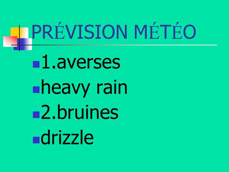 PR É VISION M É T É O 1.averses heavy rain 2.bruines drizzle
