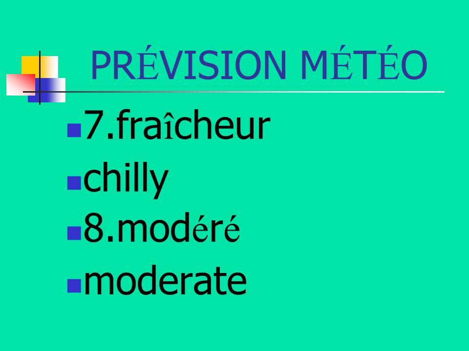 PR É VISION M É T É O 7.fra î cheur chilly 8.mod é r é moderate