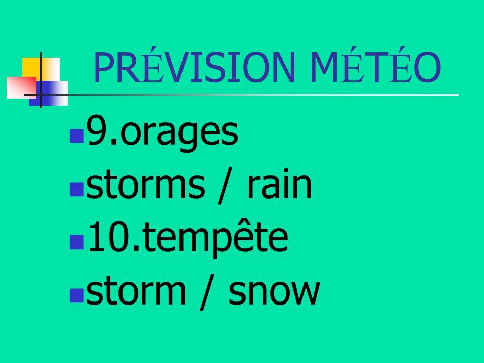 PR É VISION M É T É O 9.orages storms / rain 10.tempête storm / snow