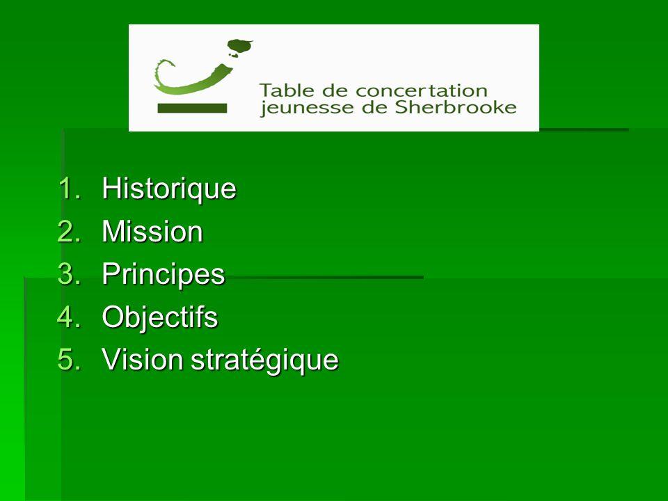1.Historique 2.Mission 3.Principes 4.Objectifs 5.Vision stratégique
