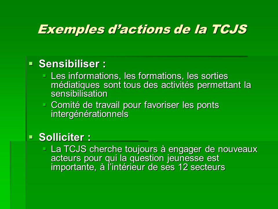 Exemples dactions de la TCJS Sensibiliser : Sensibiliser : Les informations, les formations, les sorties médiatiques sont tous des activités permettan