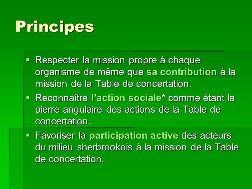 Principes Respecter la mission propre à chaque organisme de même que sa contribution à la mission de la Table de concertation. Respecter la mission pr