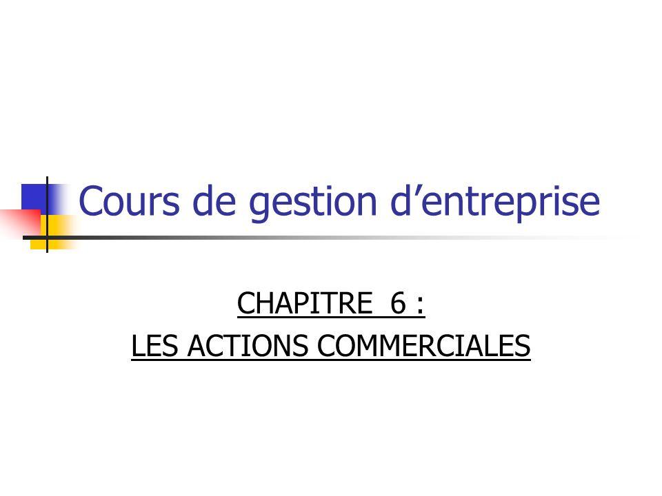 Cours de gestion dentreprise CHAPITRE 6 : LES ACTIONS COMMERCIALES