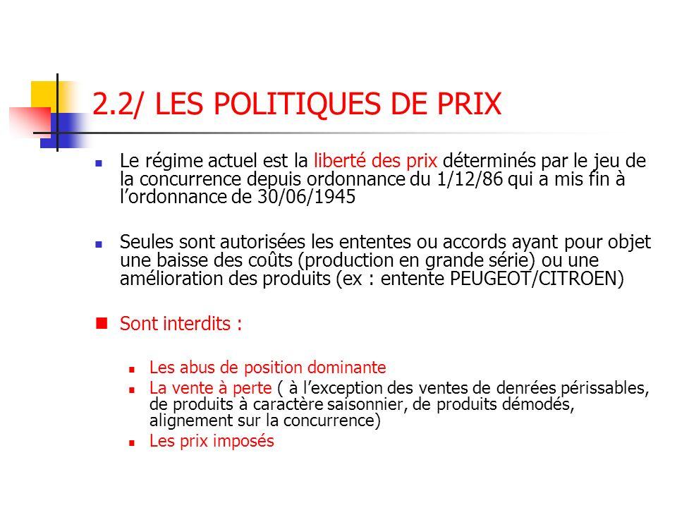 2.2/ LES POLITIQUES DE PRIX Le régime actuel est la liberté des prix déterminés par le jeu de la concurrence depuis ordonnance du 1/12/86 qui a mis fi