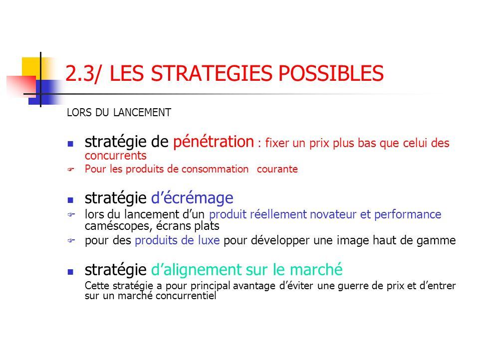 2.3/ LES STRATEGIES POSSIBLES LORS DU LANCEMENT stratégie de pénétration : fixer un prix plus bas que celui des concurrents Pour les produits de conso