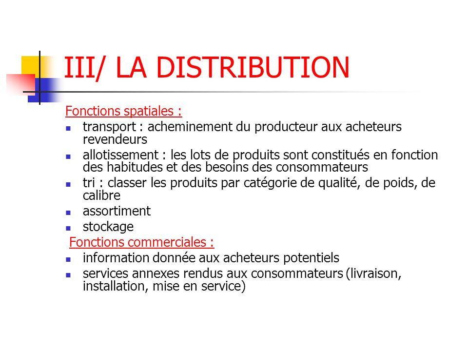 III/ LA DISTRIBUTION Fonctions spatiales : transport : acheminement du producteur aux acheteurs revendeurs allotissement : les lots de produits sont c