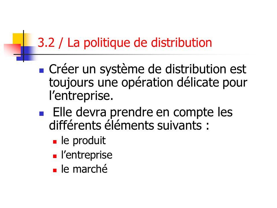 3.2 / La politique de distribution Créer un système de distribution est toujours une opération délicate pour lentreprise. Elle devra prendre en compte