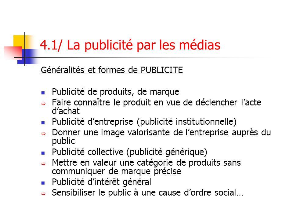 4.1/ La publicité par les médias Généralités et formes de PUBLICITE Publicité de produits, de marque Faire connaître le produit en vue de déclencher l