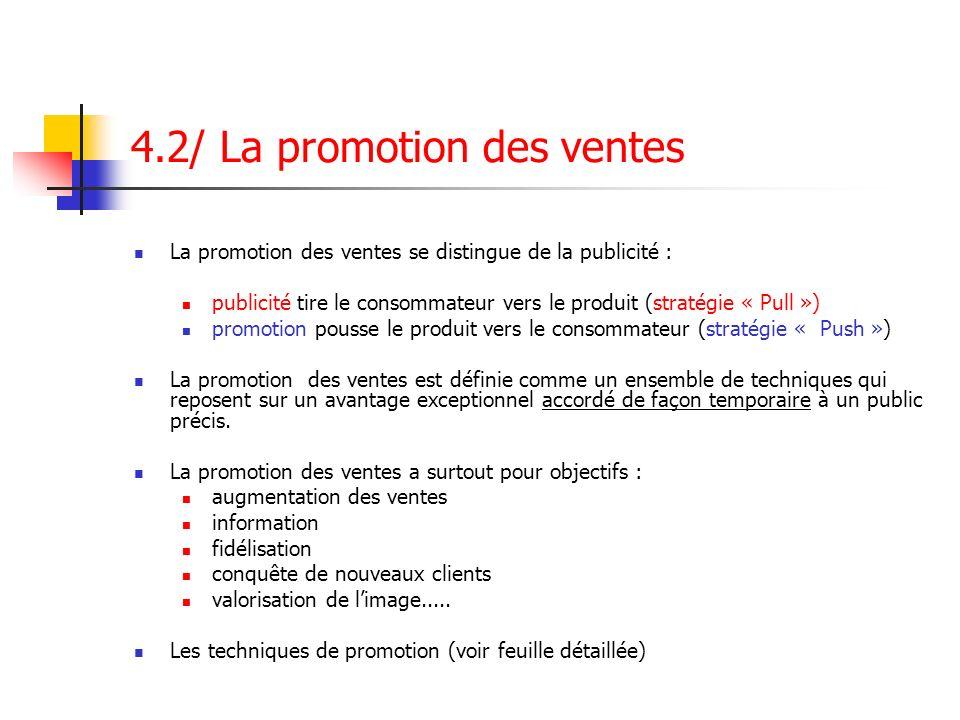4.2/ La promotion des ventes La promotion des ventes se distingue de la publicité : publicité tire le consommateur vers le produit (stratégie « Pull »