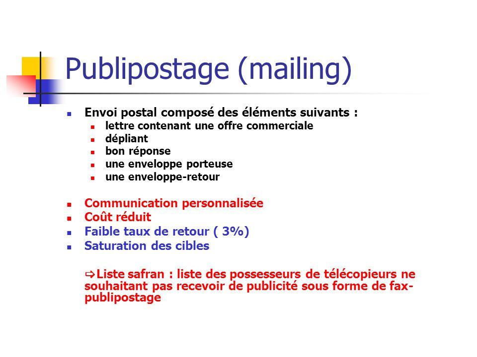 Publipostage (mailing) Envoi postal composé des éléments suivants : lettre contenant une offre commerciale dépliant bon réponse une enveloppe porteuse