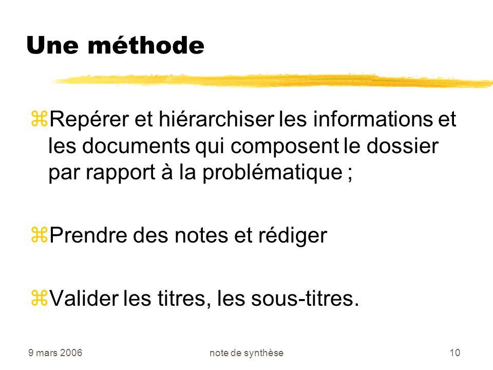 9 mars 2006note de synthèse10 Une méthode zRepérer et hiérarchiser les informations et les documents qui composent le dossier par rapport à la problém