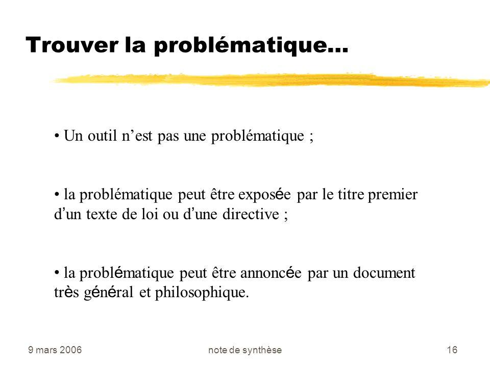 9 mars 2006note de synthèse16 Trouver la problématique… Un outil nest pas une problématique ; la problématique peut être expos é e par le titre premie