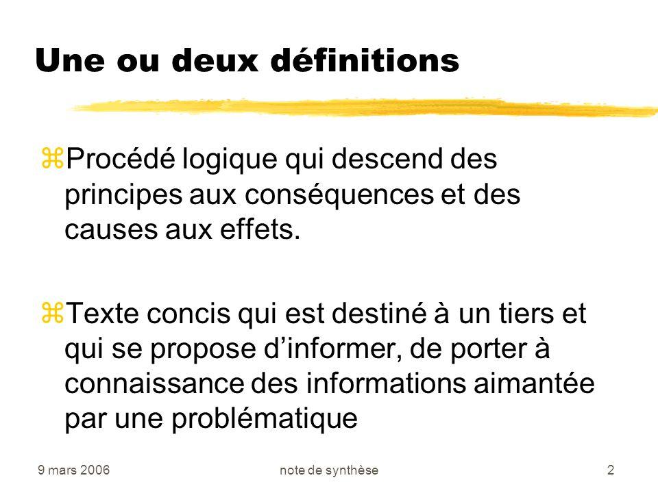 9 mars 2006note de synthèse33 Regroupement des documents Documents généraux Documents exemplaires