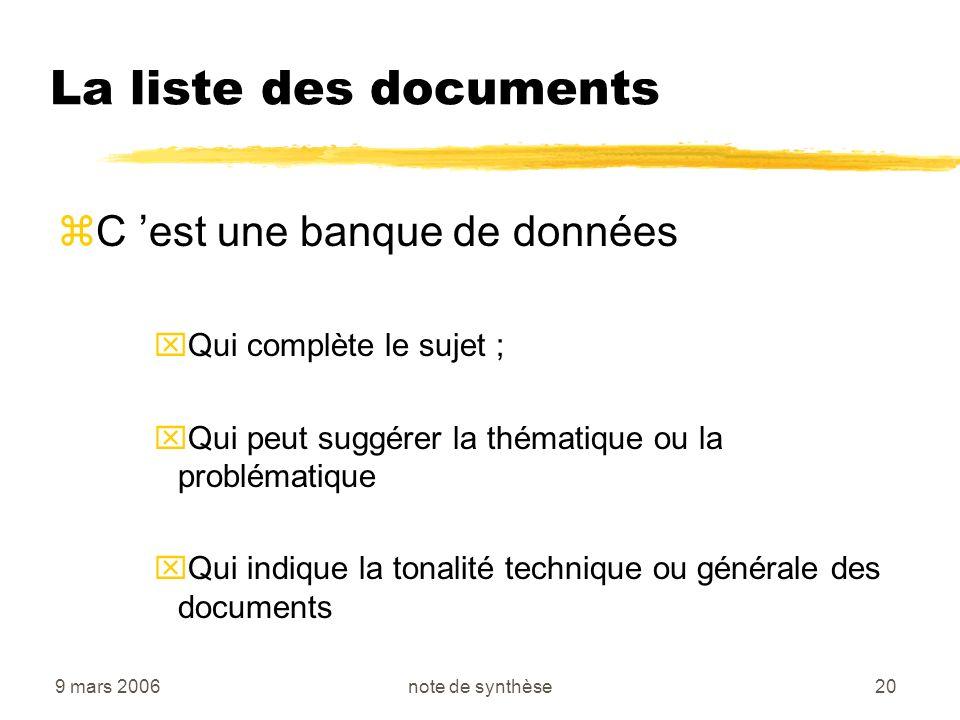 9 mars 2006note de synthèse20 La liste des documents zC est une banque de données xQui complète le sujet ; xQui peut suggérer la thématique ou la prob
